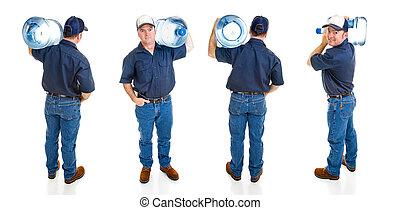 água, entrega, homem, -, Quatro, vistas