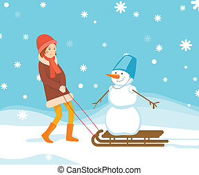 Girl and snowman on the sled