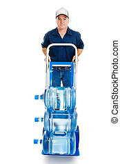 Water Delivery on Hand Truck - Delivery man with fifteen...