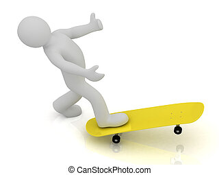 3d man could not keep balance on skateboard and falls down