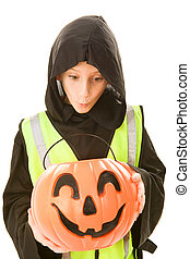 Safe Trick Or Treater Eyes Candy - Adorable little boy in...