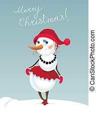 Christmas snowman-girl - Christmas background with...