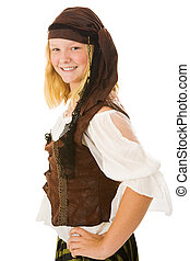 Beautiful Halloween Pirate - Beautiful young girl dressed as...