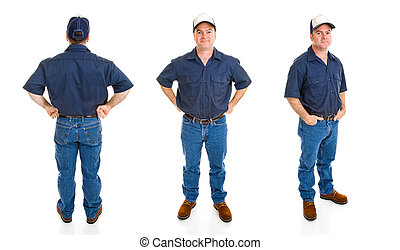 Blue Collar Man - Three Perspectives - Blue collar worker....