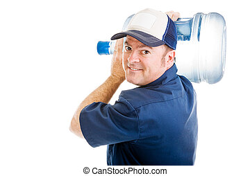 Cheerful Water Delivery Guy - Friendly delivery man carrying...