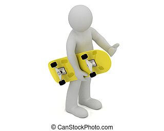 3d man carries in his hand a yellow skateboard on white...