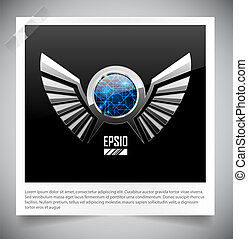 Metal Shield emblem with wings Vector illustration