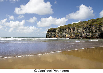Atlantic waves on Ballybunion beach and cliffs - Ballybunion...