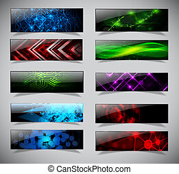 Horizontal banner set. - Horizontal techno banners set....