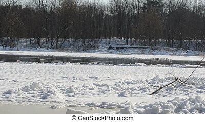 view of frozen river - Panoramic view of frozen river Neris...