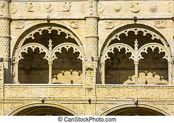 Monastery of Jeronimos - beautiful Jeronimos Monastery in...
