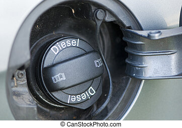 "Car fuel filler cap with the words ""Diesel"""