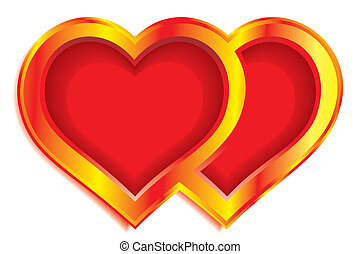 Two hearts - Double gold valentine heart on white background