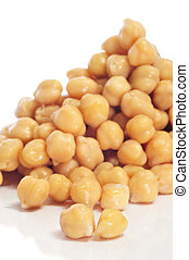 chickpeas - closeup of a a pile of boiled chickpeas on a...