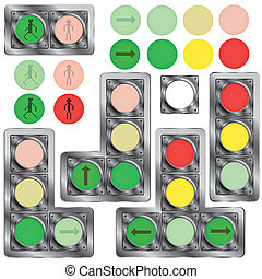 Traffic lights - A set of traffic lights and their...