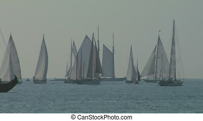 old sail regatta 04 - Old sailing boat in Mediterranean Sea...