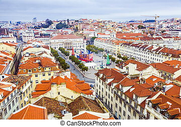Portugal. Panorama of Lisbon from a viewing point of Santa...
