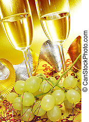 spanish cava and the grapes of luck - some glasses with...
