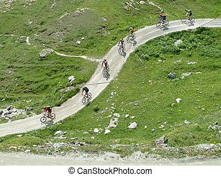 Montaña, Bikers, cruce, montañas