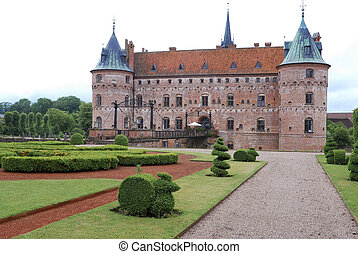 Egeskov Castle - Fairytale like medieval Egeskov Castle on...