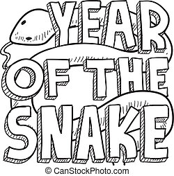 Year of the snake Chinese zodiac - Doodle style Chinese Year...