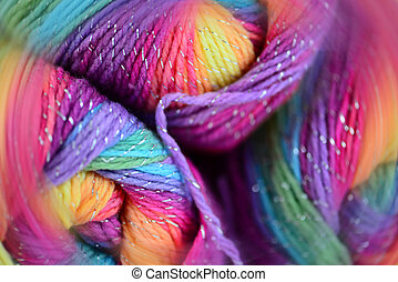 Yarn with a blur effect. Bright colors and soft blur.