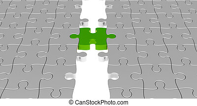 Green puzzle connection - Two puzzle parts connected with...