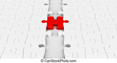 Red puzzle connection - Two puzzle parts connected with red...