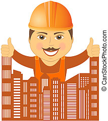 builder with city showing thumb up