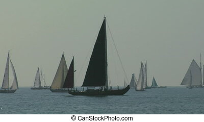 old sail regatta 05 - Old sailing boat in Mediterranean Sea...
