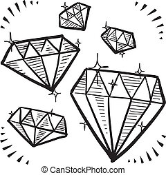 Diamond sketch - Doodle style diamond gem variety...