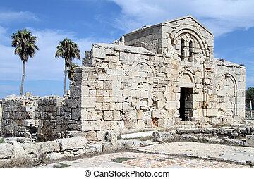Ayios Philion church - Palm trees and Ayios Philion church...
