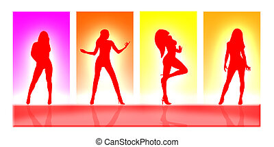 Women bodies in silhouette on a colorful background