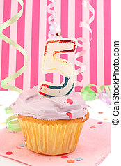 young girls birthday - birthday cupcake with pink frosting...
