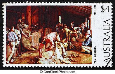 Postage stamp Australia 1974 Shearing the Rams - AUSTRALIA -...