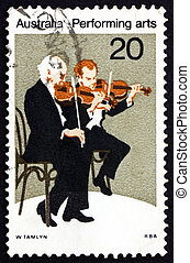 Postage stamp Australia 1977 Violinists, Performing Arts -...