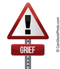 warning sign with a grief concept illustration design