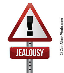 warning sign with a jealousy concept illustration design