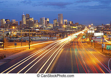 Denver - Image of Denver and busy street with traffic...
