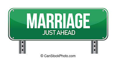 Marriage just ahead illustration design over a white...