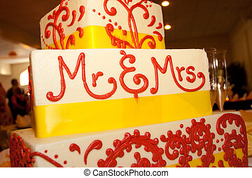 Mr and Mrs Wedding Cake - A wedding cake that says mr and...