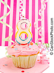 young girl\\\'s birthday - birthday cupcake with pink...