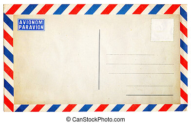 Empty vintage air mail envelope isolated on white