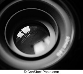 Macro of DSLR lens in b/w