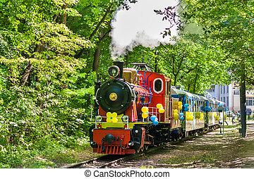 Steam locomotive on Kiev Children's Railway, Ukraine (750 mm...