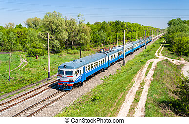 Suburban electric train in Kiev region, Ukraine