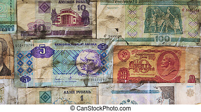 Background of old banknotes