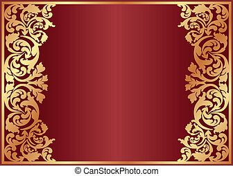 crimson background with golden ornaments