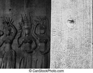 Bullet hole at Angkor Wat
