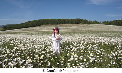 Chamomile field - Little girl dressed in a traditional...